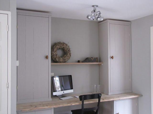 Prachtige kleuren werkplek in voorhuis ideeen interieur