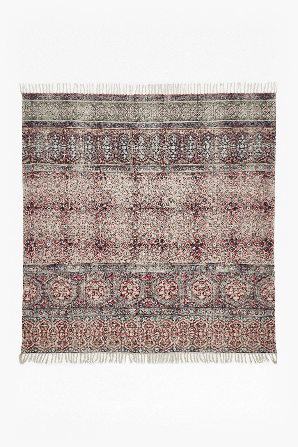 Hand Printed Square Shaped Rug Frayed Edges Distressed