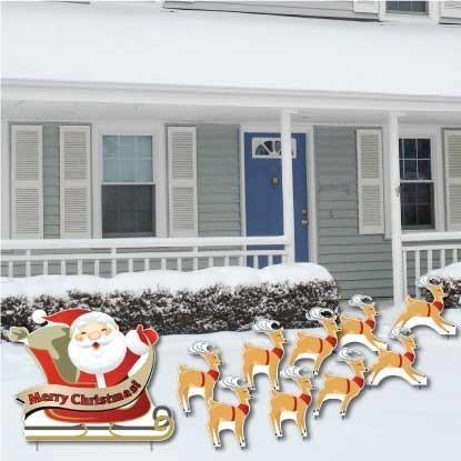 Santa, Sleigh & Reindeer 10 piece Yard Card Set