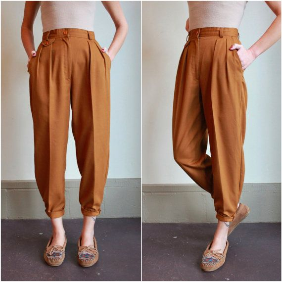 ce2c9a6fd343 Vintage 80s High Waisted Pants   Pleated Trousers   Golden Mustard ...