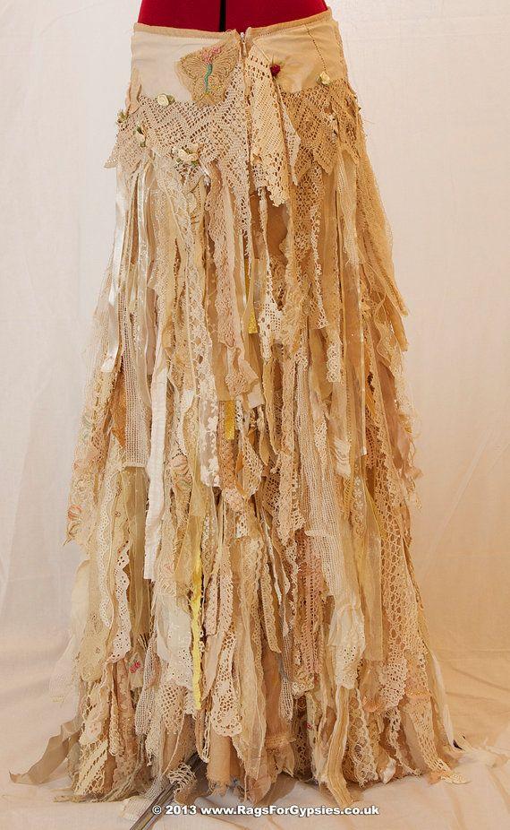 exquisite gypsy esmeralda ragged tattered long skirt boho