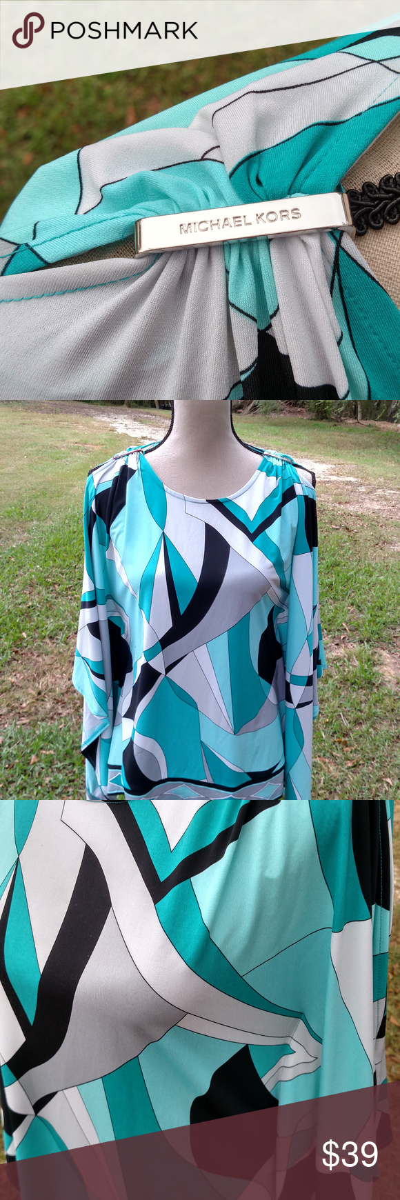 Michael Kors Womans Blouse Michael Kors Geometric Blouse/  Long Sleeves/ cold shoulder {slits down the arms for that sexy appeal}.  Polyester Blend.  Colors:  Black/Blue/Green/White.  Machine Wash Cold.  EUC.  Pair with your favorite Slacks/Jeans/Fashion Heels.  Scoop Neckline.  Adorable Gathers at the shoulder line gives this blouse chic appeal. Michael Kors Tops Blouses