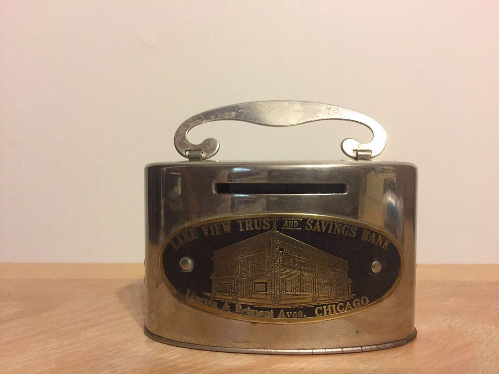 Vintage Metal Coin Bank Lake View Trust And Savings Bank Lincoln