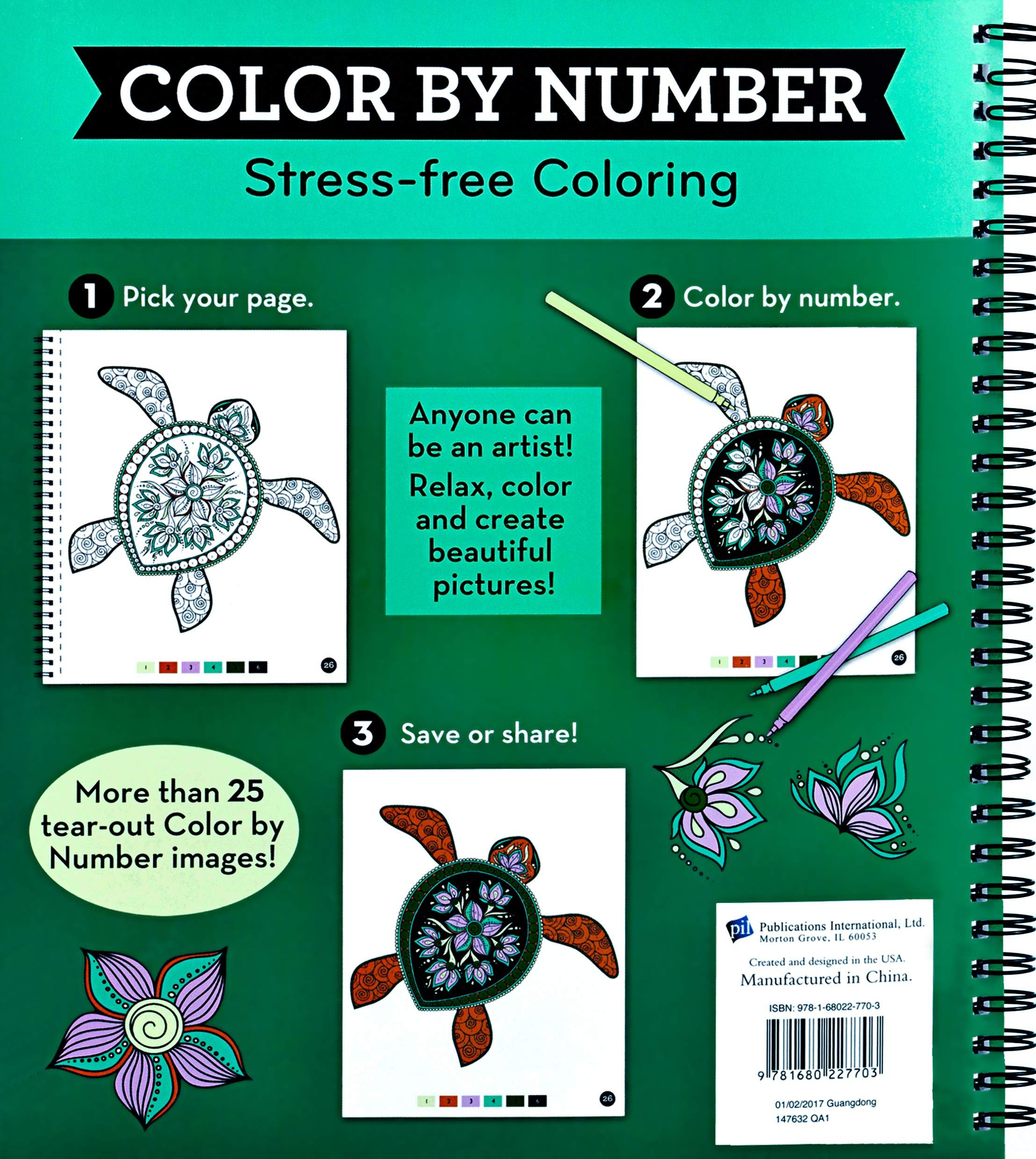 Brain Games Color by Number StressFree Coloring (Green