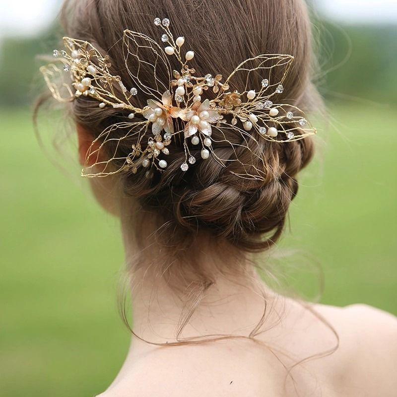 Wedding Hairstyle Names: High Quality Gold Brides Hair Combs Rhinestones Bridal