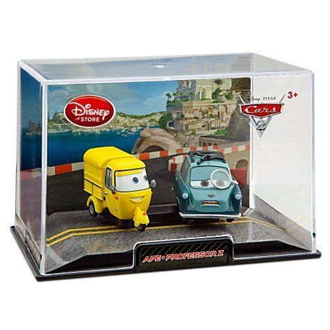Disney / Pixar CARS 2 Movie Exclusive 148 Die Cast Car In Plastic Case Ape Professor Z by Disney Store. $9.29. Ages 3+. Comes in plastic case with scenic display backing. Imported. Ape 1 1/4'' H x 1/2'' W x  2'' L Professor Z 1 1/4'' H x 1 1/4'' W x 2'' L. Finely detailed die cast metal. Ape and Professor Z Cars 2 Die Cast Car Set -- 2-Pc. The mad scientist Professor Z is paired here with Ape in this highly detailed Cars 2 Die Cast Car Set. Behind his monocle, the P...