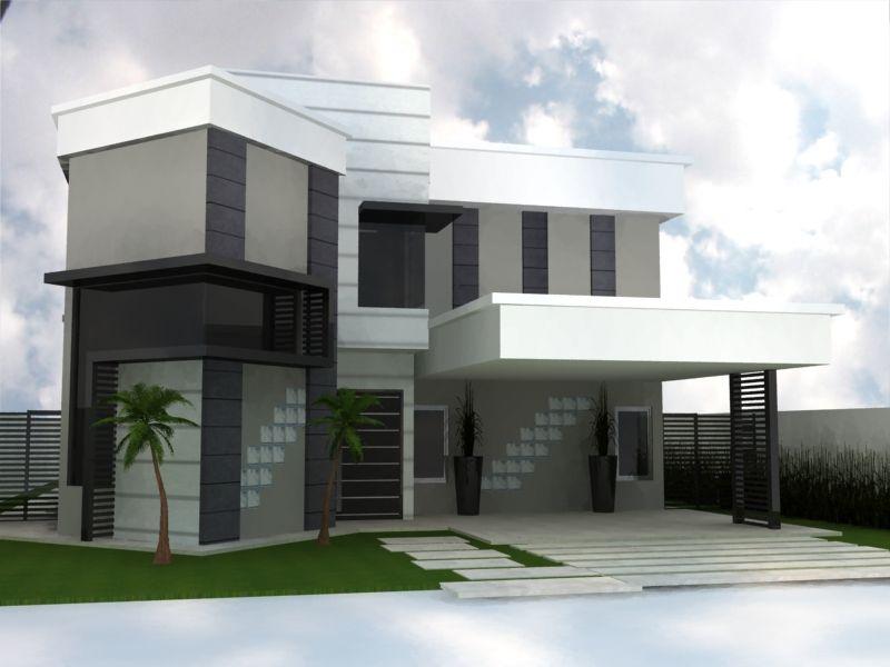 fachadas de casas modernas com telhado embutido e escondido