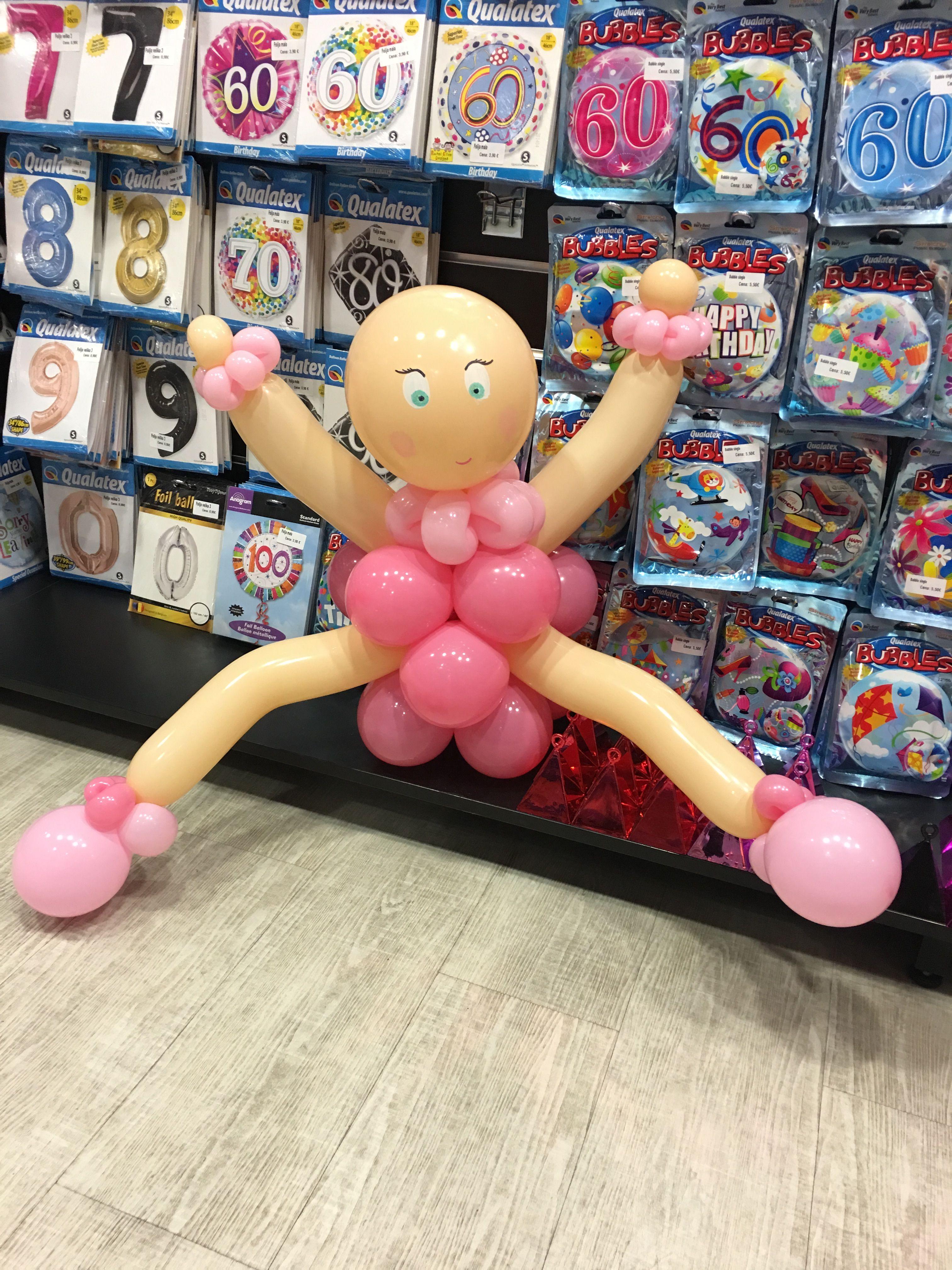 Baby girl balloon sculptures cake pops balloons