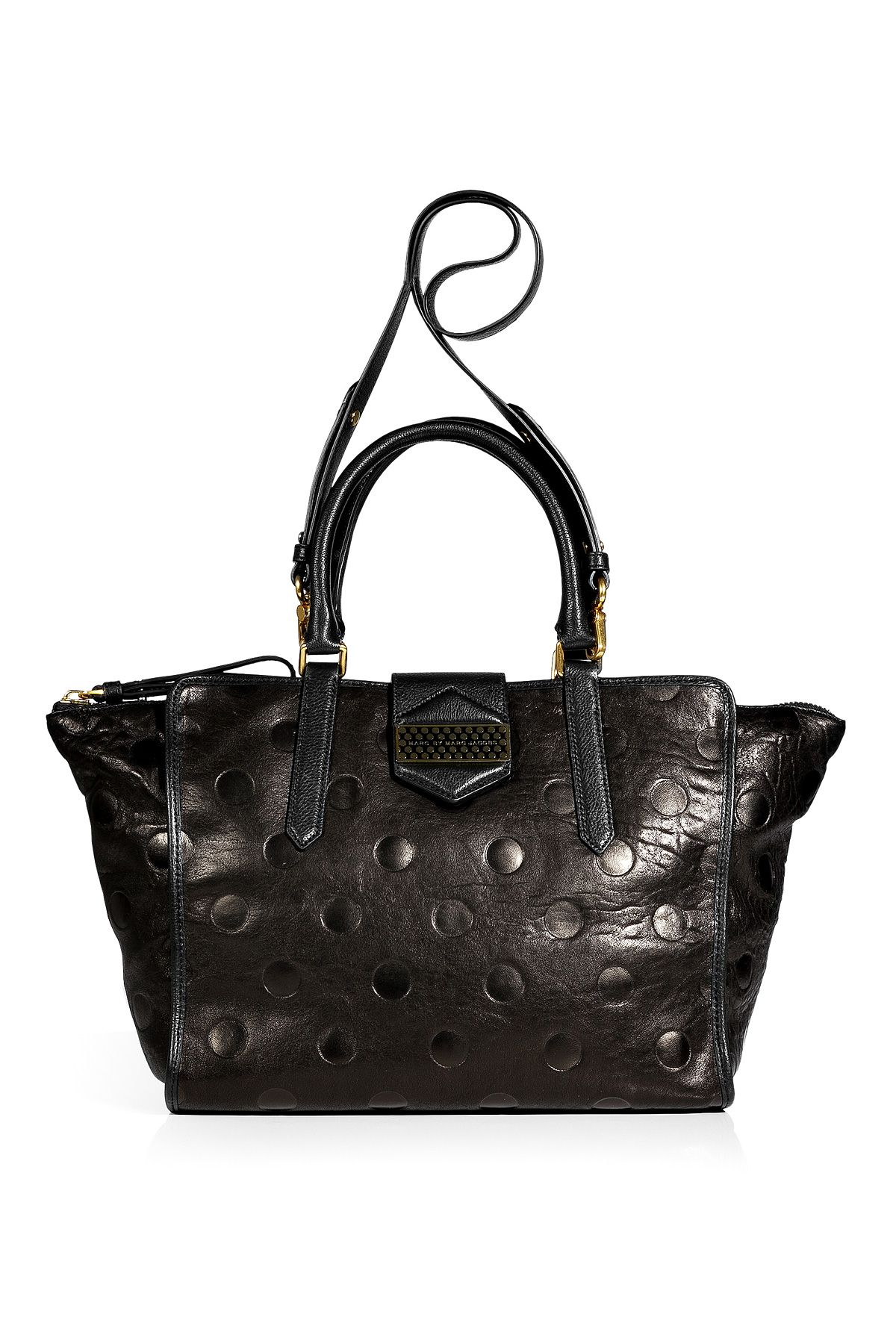 37280e110bae6 Black Dot Embossed Leather Tote by MARC BY MARC JACOBS | Bags ...