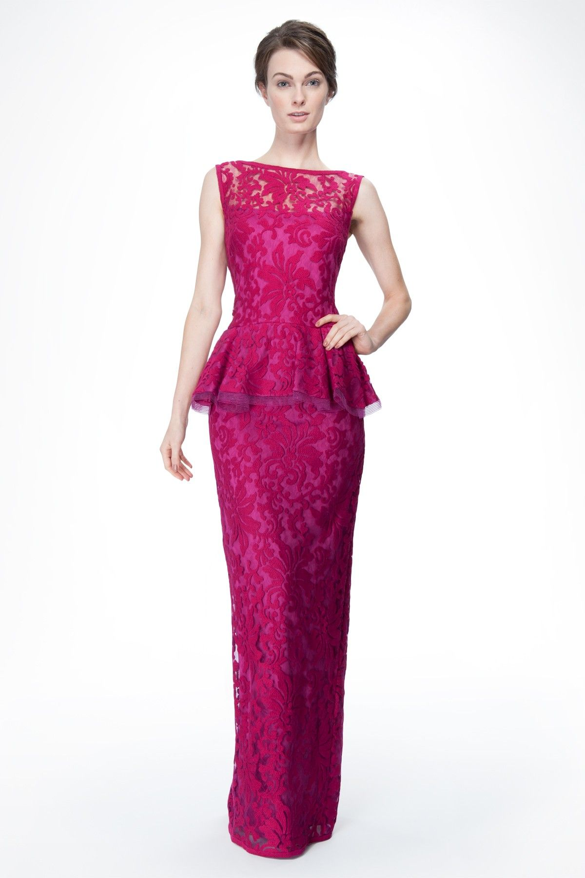 Embroidered Lace Peplum Gown in Lotus Pink | Tadashi Shoji | Preppy ...