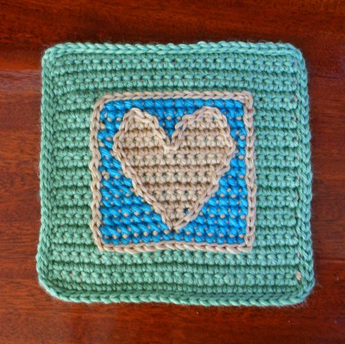 Crocheting Nested Squares: Photo of the Nested Squares Afghan Block With Cross Stitched Heart Design╭⊰✿Teresa Restegui http://www.pinterest.com/teretegui/✿⊱╮