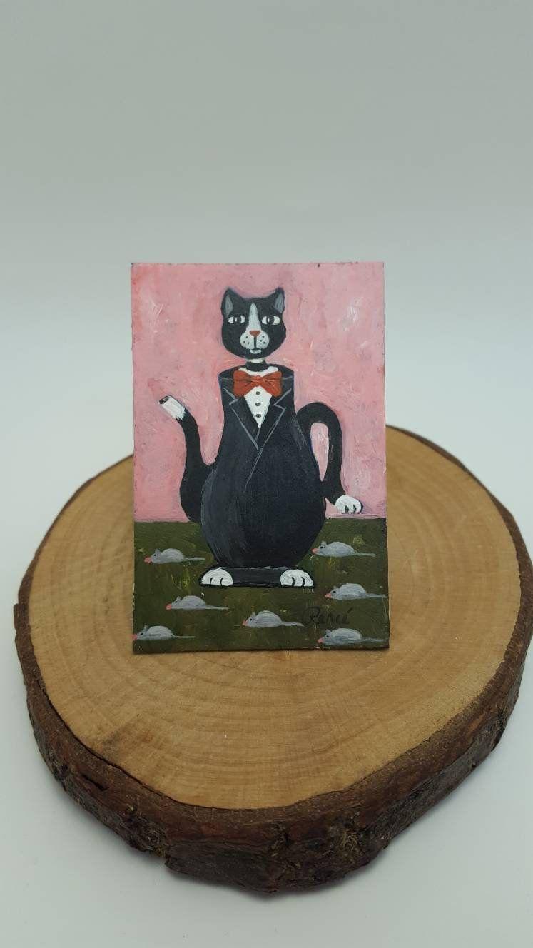 Miniature Handmade Original Tiny Painting Collector or