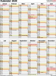 Vorlage 11 Kalender 2020 Fur Excel Hochformat 1 Seite Nach Jahreshalften Untergliedert Kalender Akademischer Kalender Ausdrucken