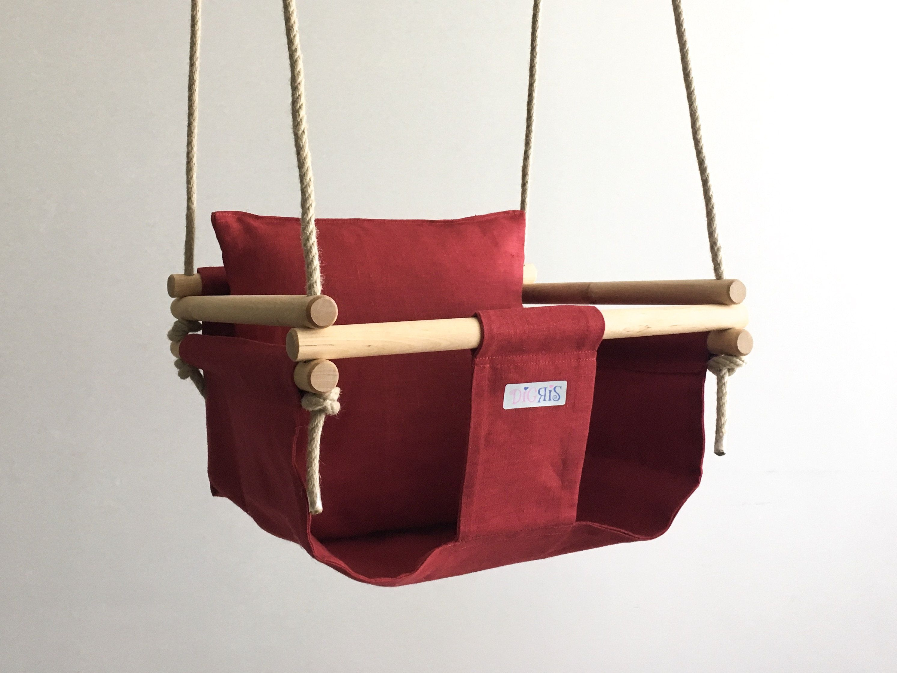 Digris natural linen fabric swing christmas gift nursery decor