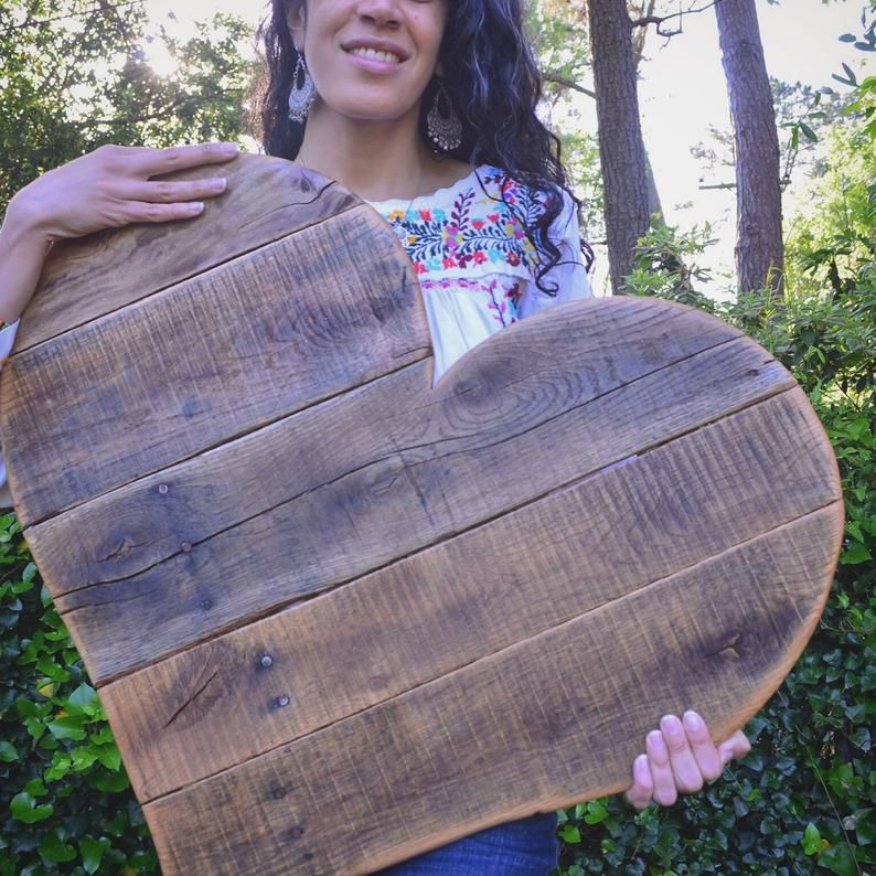 Rustic Wood Heart Home Decor Large 27 Reclaimed Pallet Wood Wall Hanging Garden Decor Home Decor Wall Art Valentine S Day Wedding Wood Pallets Wooden Hearts Wooden Stars