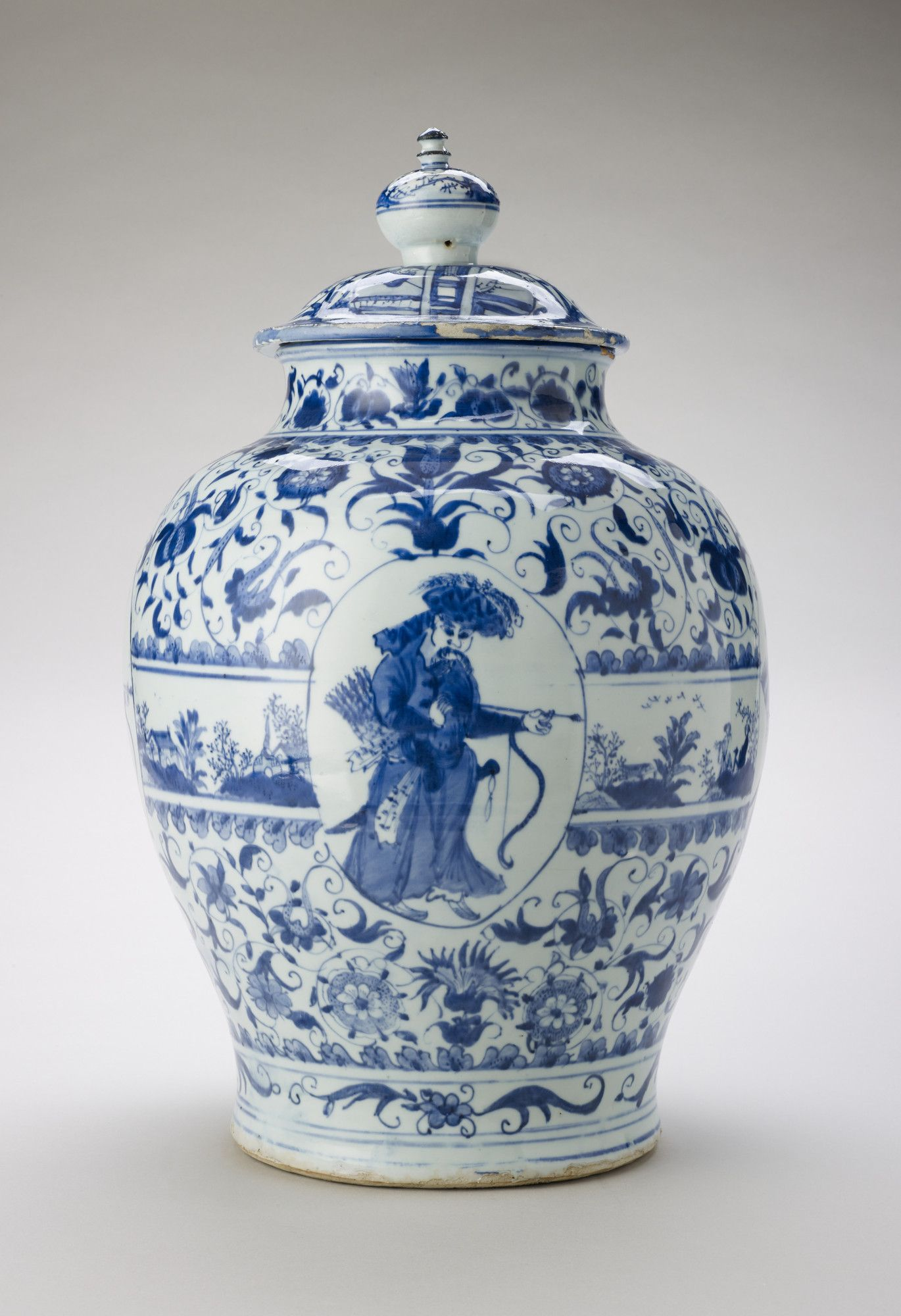 Jar and cover China, Ming Porcelain painted in underglaze blue, H
