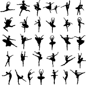 50 Ballet silhouette, SVG, DXF, PNG, EPS, Vector