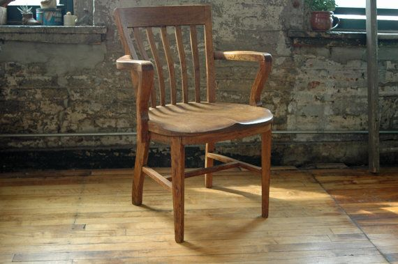 Vintage Wooden Oak Library Chair Bankers Chair Courthouse Chair Wood Office  Chair Juror Chair Teachers Chair Arm Chair
