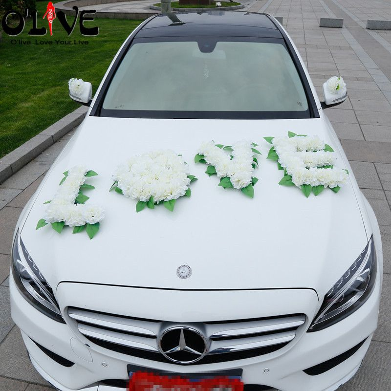 Artificial Flowers Wedding Decoration Car Pompoms Diy Leaves