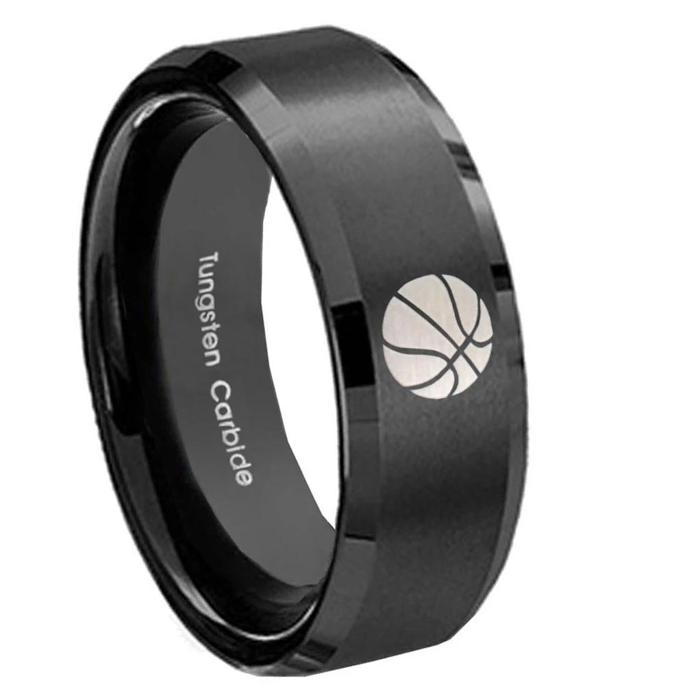 8mm Basketball Beveled Edges Brush Black Tungsten Carbide