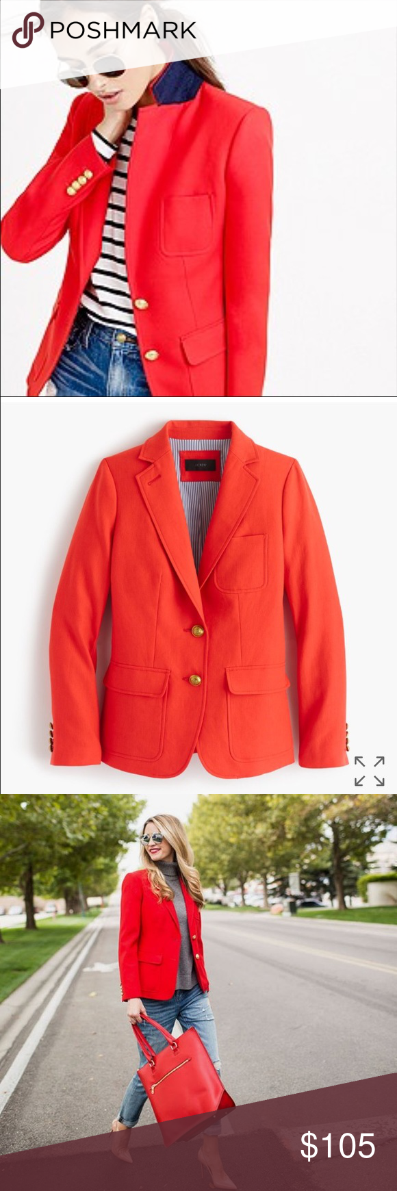 SOLD.  J. Crew linen blazer Classic fit blazer with gold hardware and bright blue stripe lining to contrast the the jacket. Measurements: body 23.5 inches, sleeve length 30 inches. J. Crew Jackets & Coats Blazers
