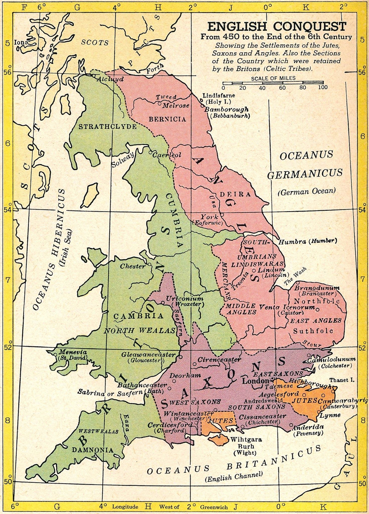 Map Of England 450 Ad.English Conquest 450 1700 Ad 1954 Map Copyright C S Hammond Co