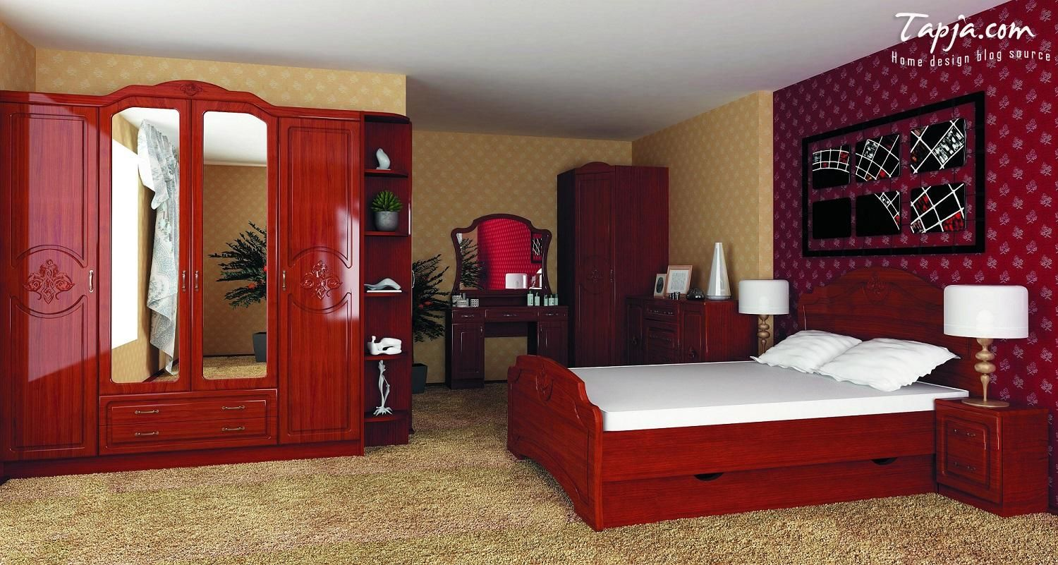 bedroom furniture for women. Adorable Bedroom Decorating Woman Idea With Wooden Furniture Set Plus Classy Red Yellow Wallpaper Including Brown For Women T