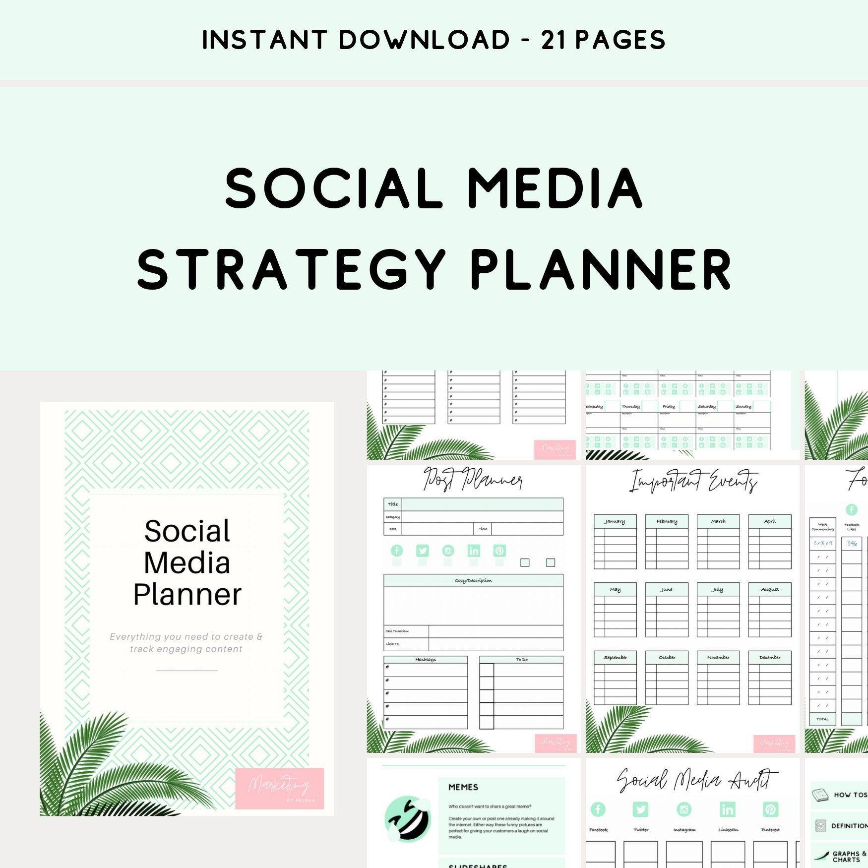 Social Media Strategy Planner Online Marketing Planner