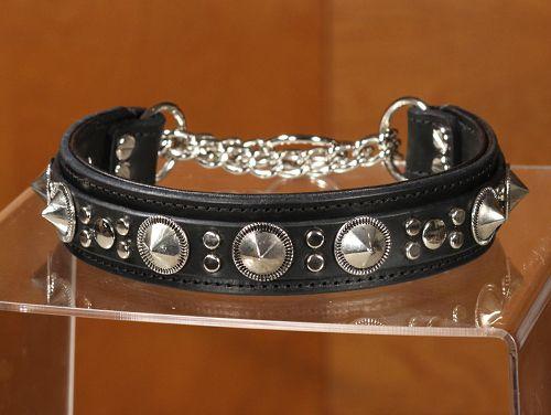 bluto custom chain martingale leather dog collar by california collar co.