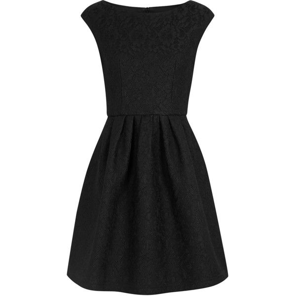 Womens Evening Dresses Boutique Moschino Black Flared Lace Dress ($610) ❤ liked on Polyvore featuring dresses, skater skirt, lace skater skirt, circle skirt, black flared skirt and black cocktail dresses