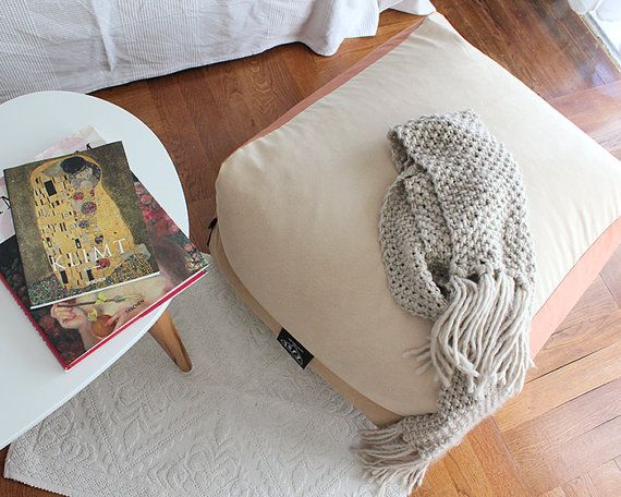 Ottoman Upholstery Cover Floor Pouf Boho Decor Earth Colors