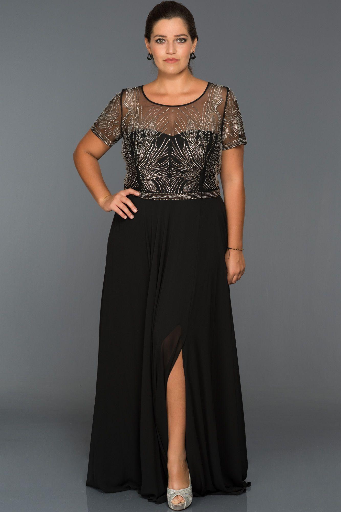 Yirtmacli Buyuk Beden Abiye S4481 Aksamustu Giysileri Elbise Modelleri The Dress