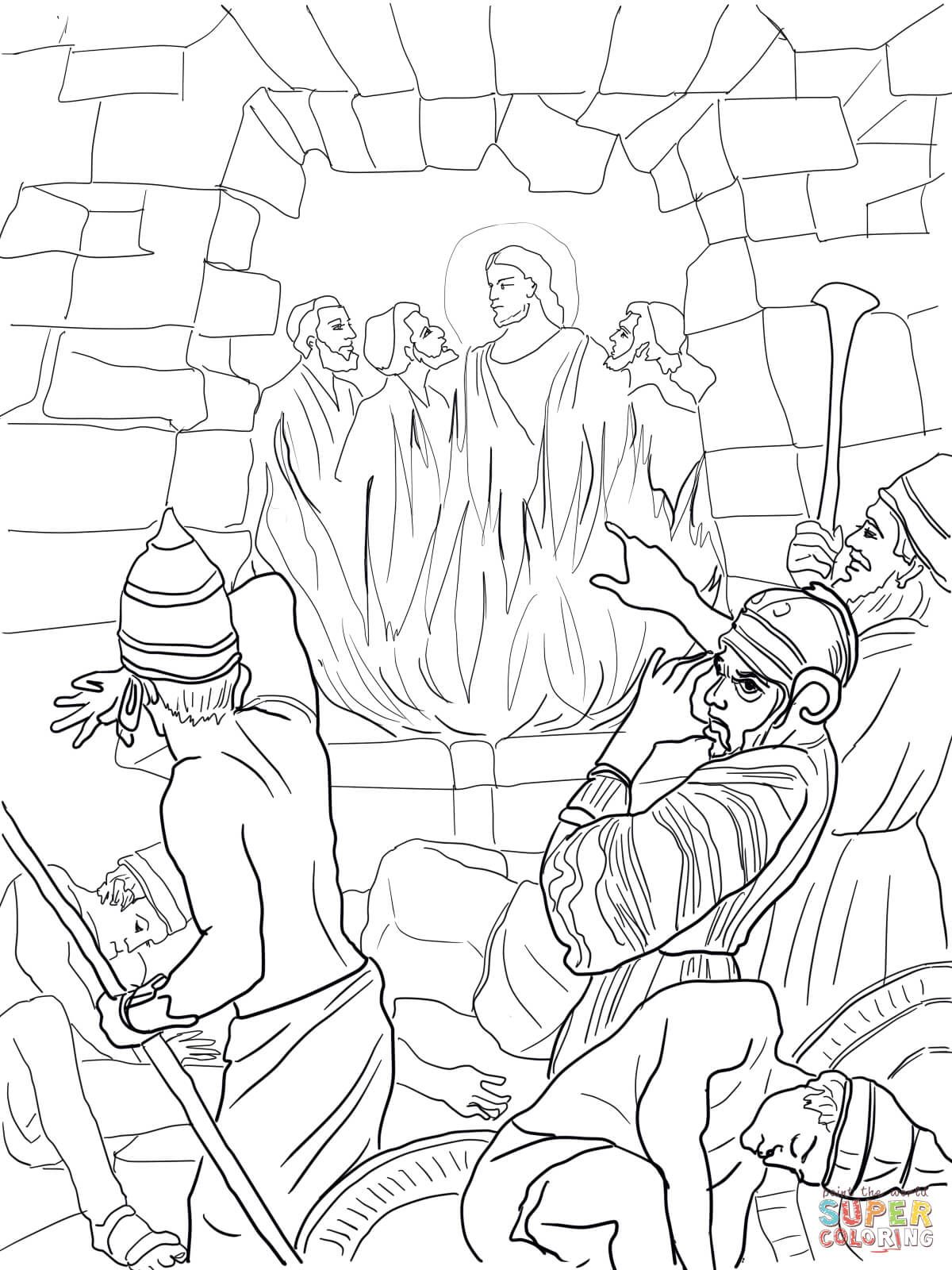 shadrach meshach and abednego in the fiery furnace super coloring