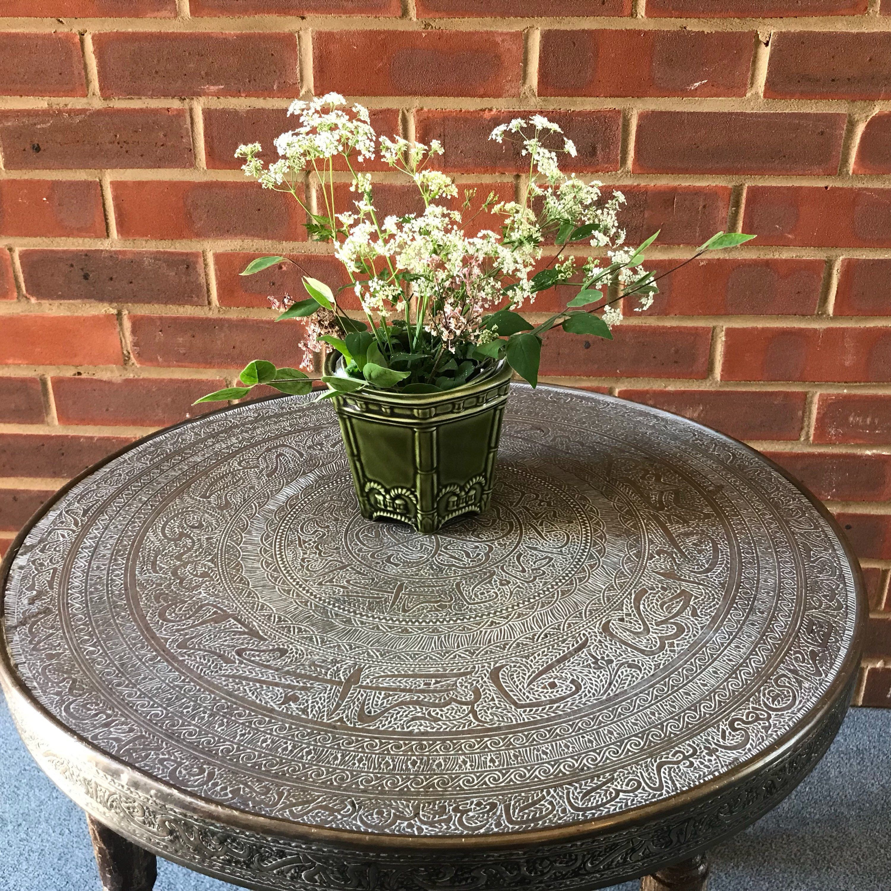 Antique brass top small coffee table vintage oriental