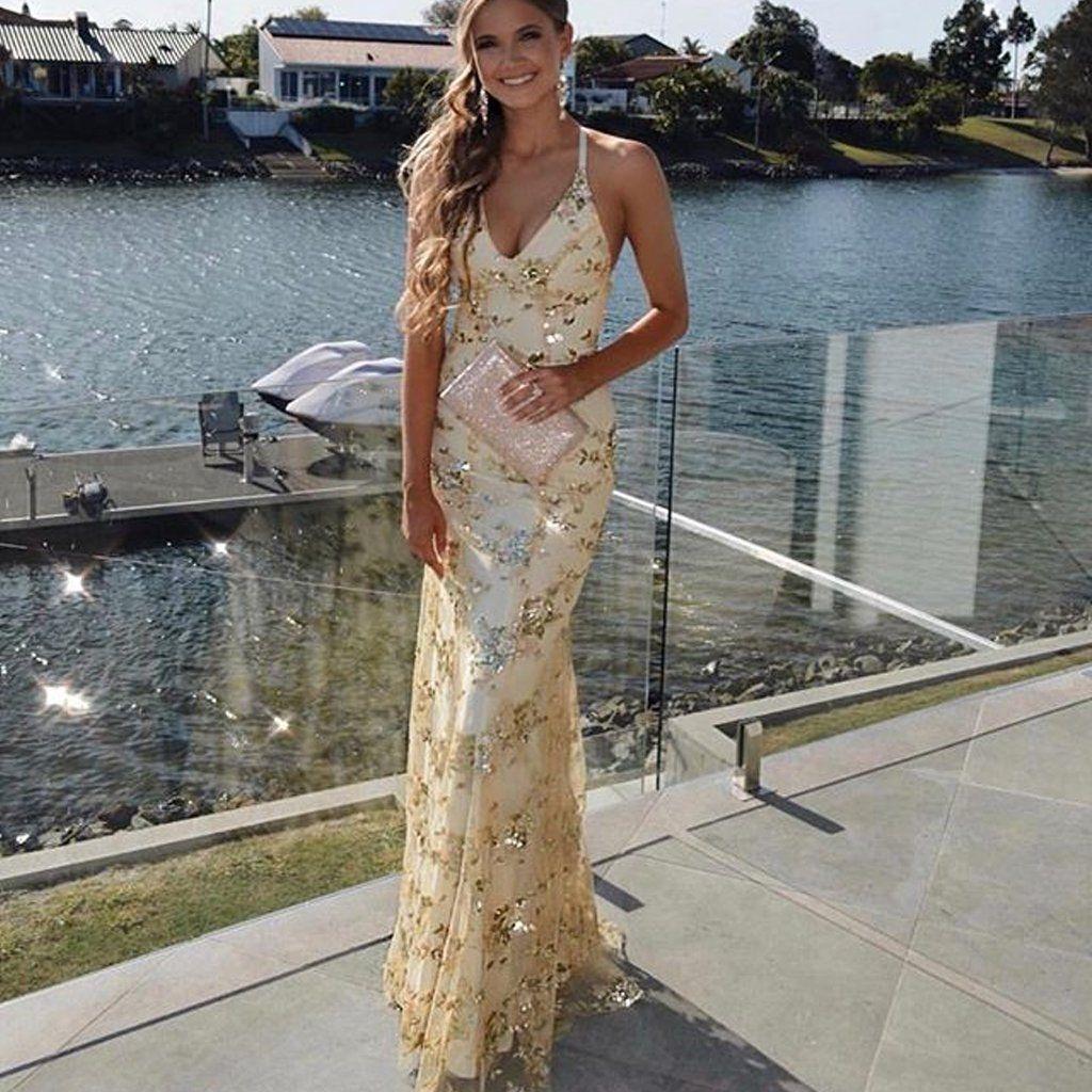 Gold Sequin Mermaid Backless V Neck Prom Dresses Fc1938 In 2021 Gold Prom Dresses Gold Prom Dresses Long Prom Dresses [ 1024 x 1024 Pixel ]