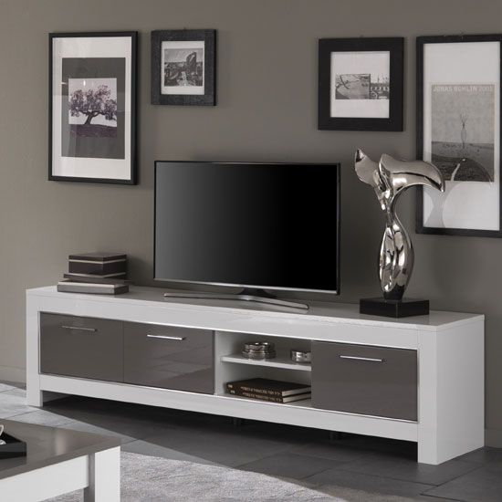 Lorenz Large Tv Stand In White And Grey High Gloss With 3 Doors And Shelf Features Lorenz Large Tv Living Room Tv Stand Large Tv Stands White Gloss Furniture