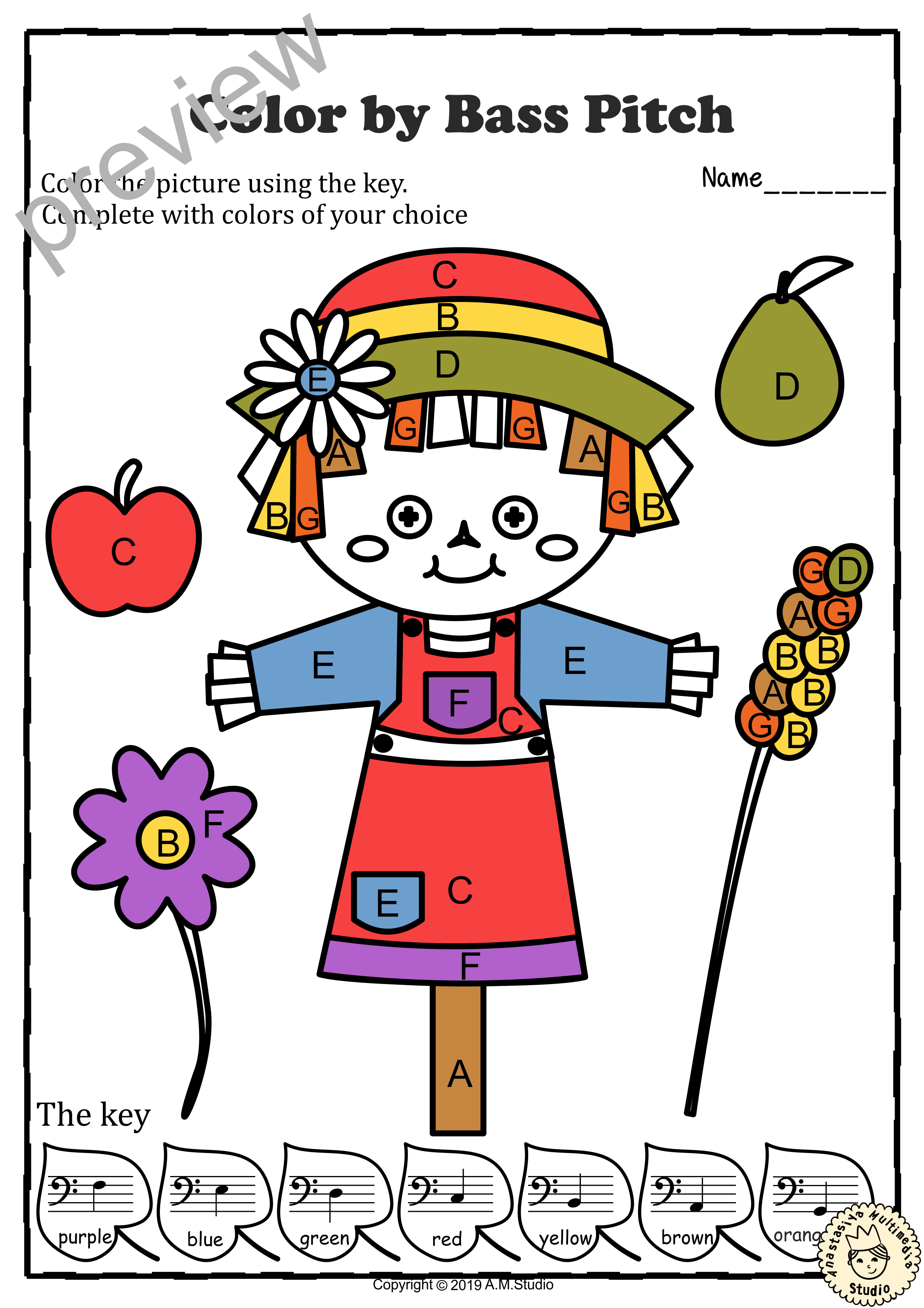 Musical Coloring Pages For Fall Color By Bass Pitch With