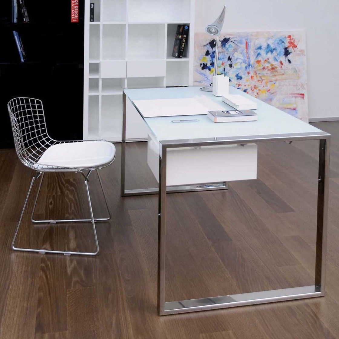 modern home office design displaying. Fascinating Home Office Design For Small Spaces Displaying White Rectangle Frosted Glass Desk With Double Modern