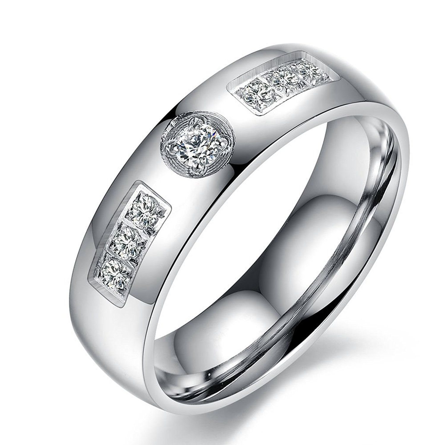 Stainless Steel Engagement Wedding Cz Wedding Ring Bands