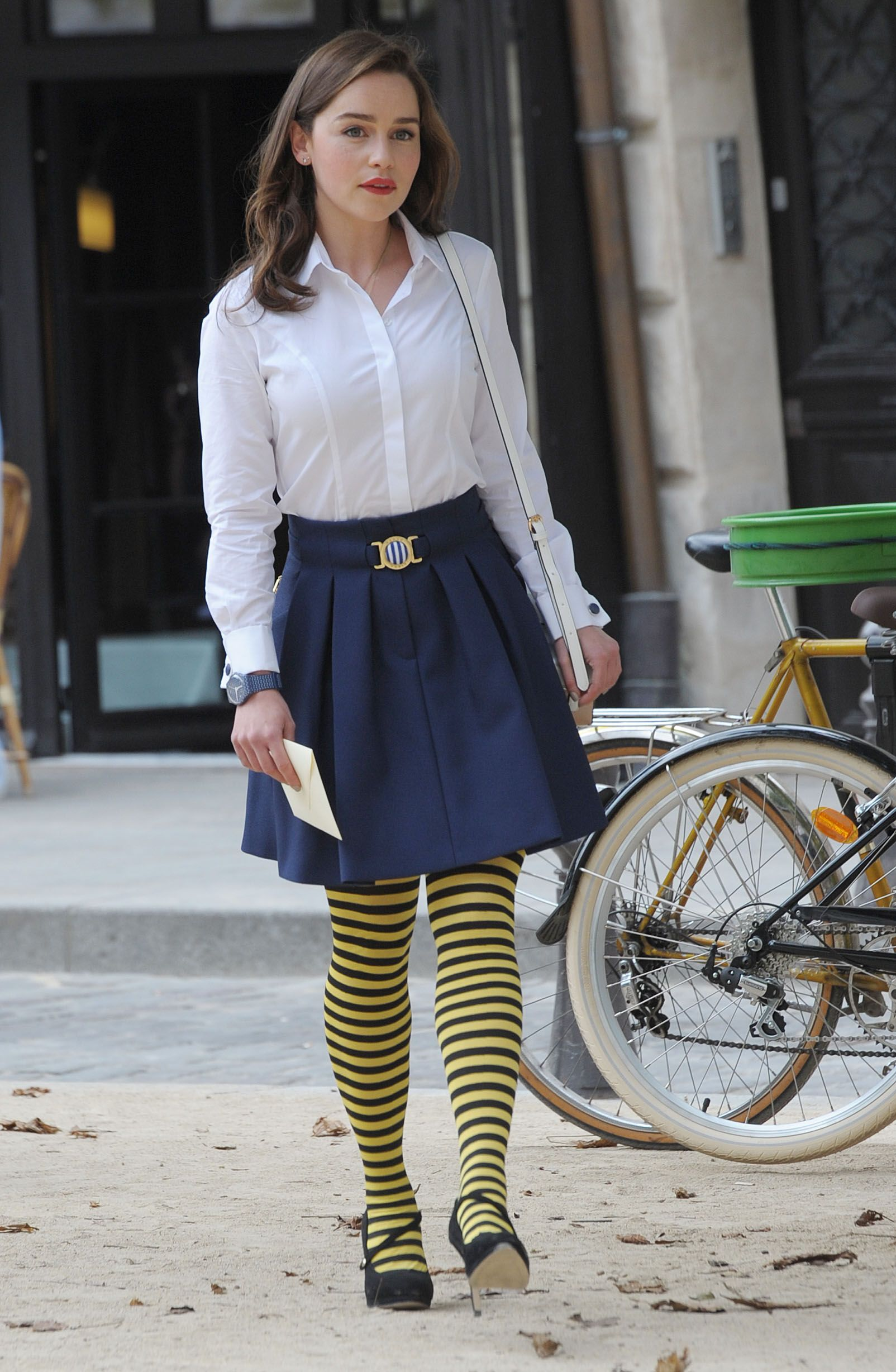 721b5ceaef3d51 Emilia and her adorable bumble bee tights. Me Before You outfit, the Mother  of