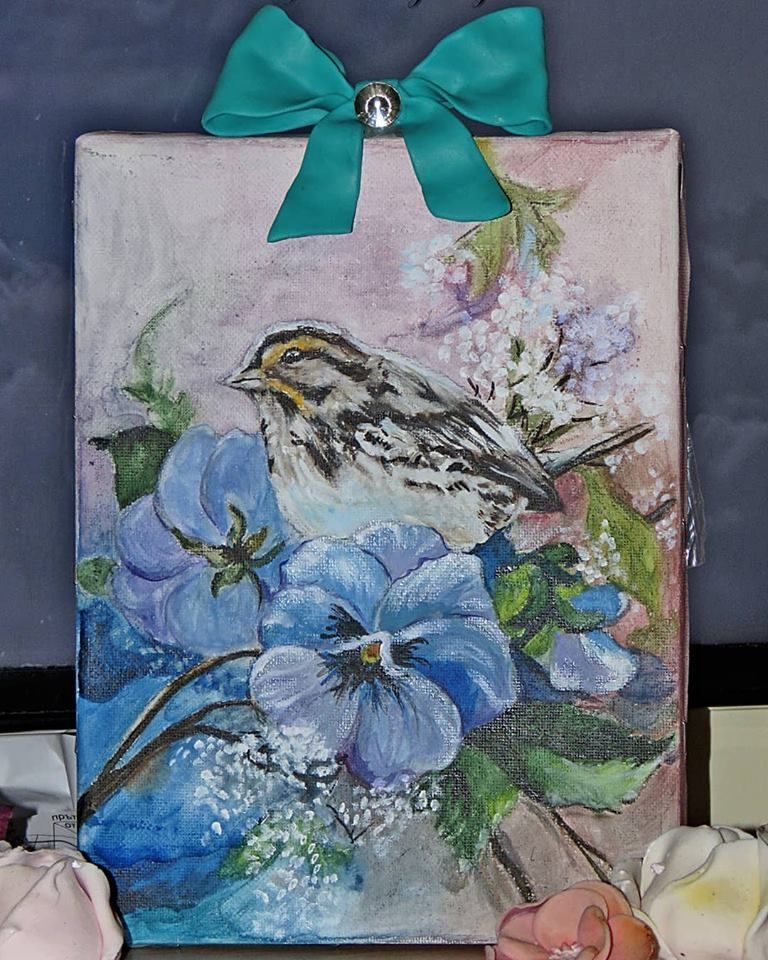 Painting Bird With 3d Elements Paint Bird Flowers Ribbon Polymerclay Sidona Painting Art Bird