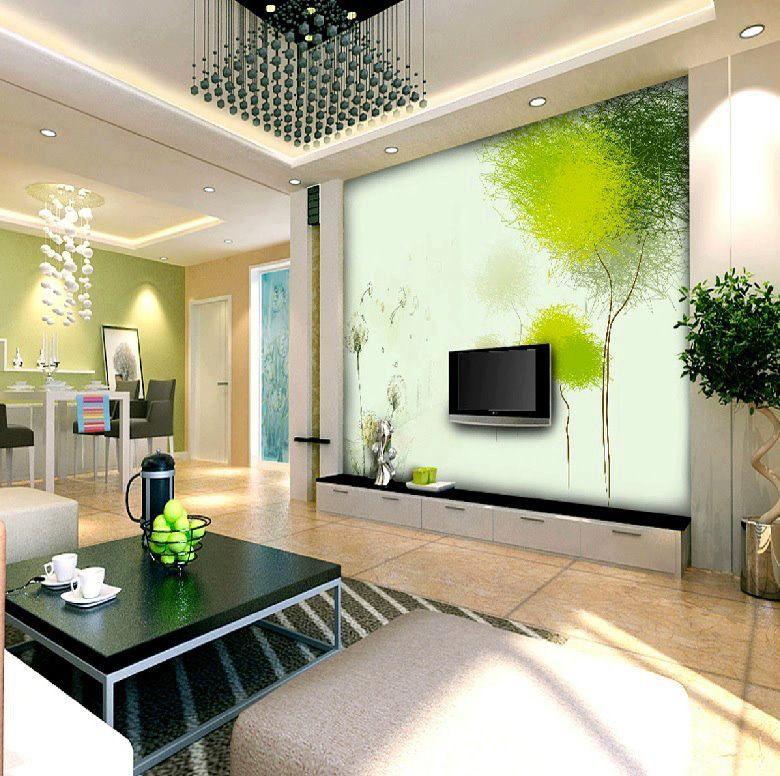 Grün Weißes Wohnzimmer Ideen Akzentwand Esszimmer
