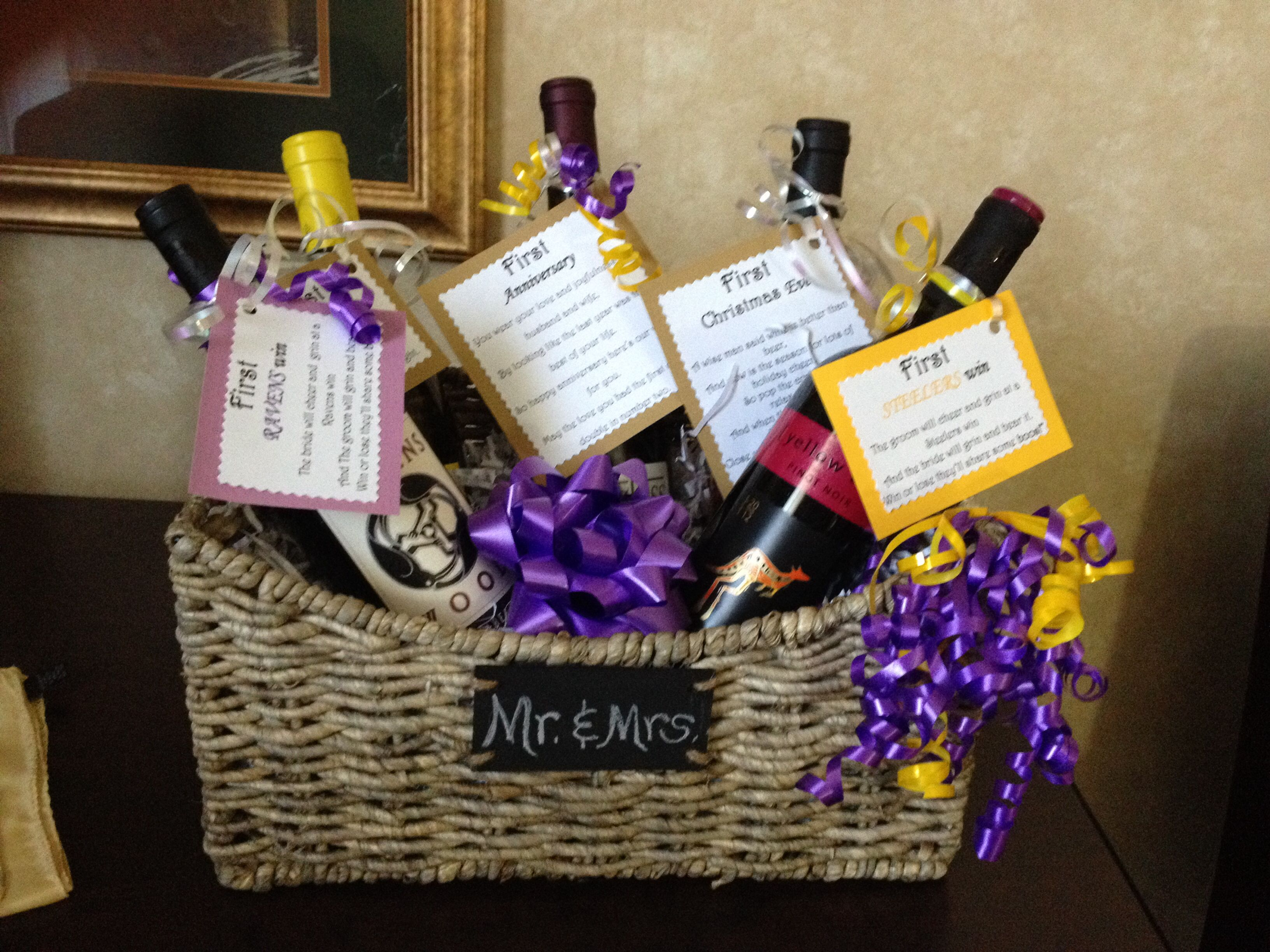 My version of the wedding wine basket. I had to add bottles for ravens and steelers to go with the theme of my sister-in-law's wedding. This was fun to make!