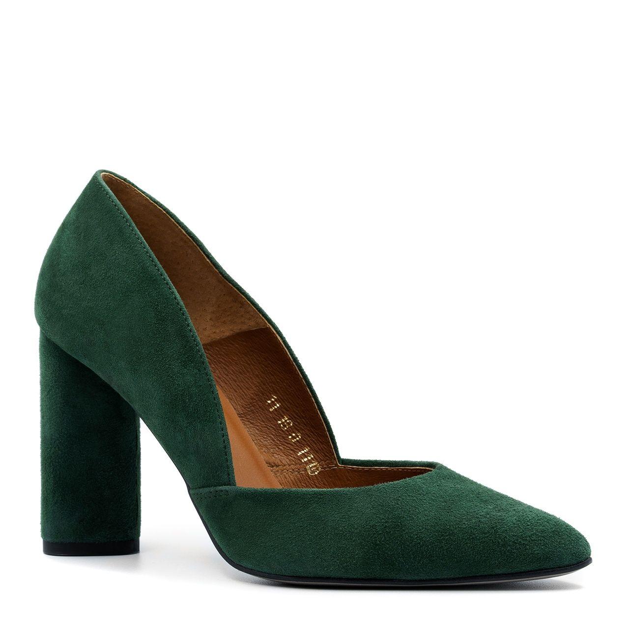 Zielone Zamszowe Czolenka Na Wysokim Slupku 111d Nescior Sklep Firmowy Shoes Heels Heeled Mules