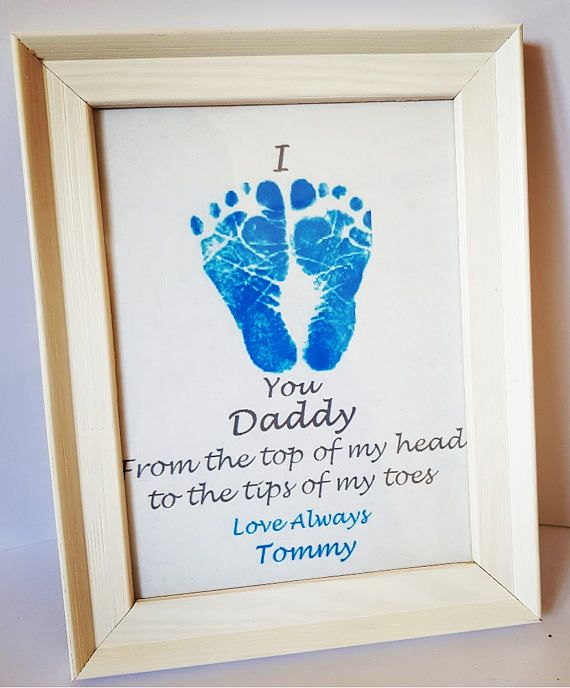 Fathers day gift, personalized art, baby foot prints, gift from son ...