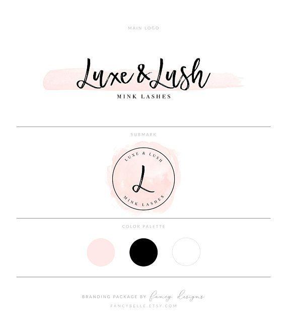 Lash Logo Eyelash Extensions Logo Premade Logo Blush Pink Logo