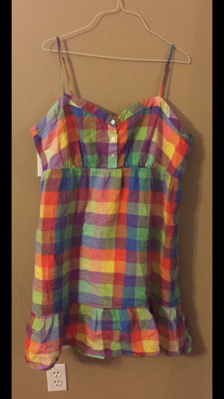 Old Navy rainbow plaid dress, size XXL, excellent condition. 20 shipped in US.