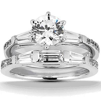 14K White Gold Tapered Baguette Diamond Engagement Ring Setting