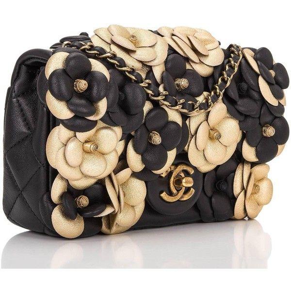 d7ab2150b689 Chanel Black And Gold Camellia Lambskin Mini Classic Flap Bag ...