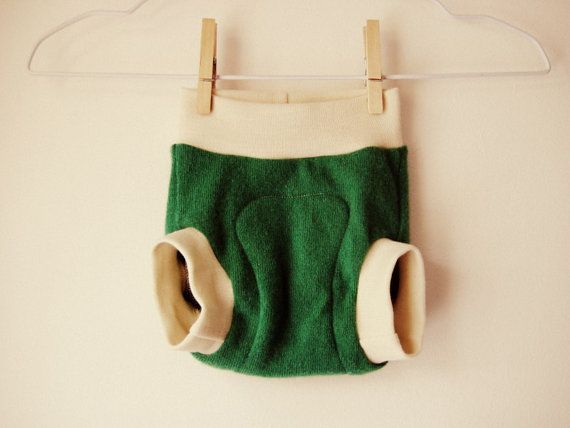 Small Shamrock Green Cashmere Wool Soaker Diaper Cover -- Natural Merino Wool Interlock Leg and Waist Bands -- Gender Neutral Diaper Cover